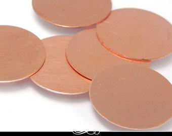 5 Pack of Copper Blanks. Metal Stamping Blanks.  25mm Disc Shape. 24ga Solid Copper MET-500.15