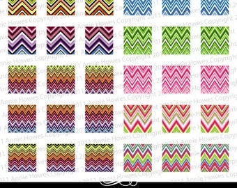 Chevron Colorful 1 Inch Square Digital Collage Sheet.
