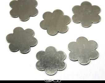 Flower Shaped Nickel Silver Metal Blank for Metal Stamping. Pack of 5. MET-640.15