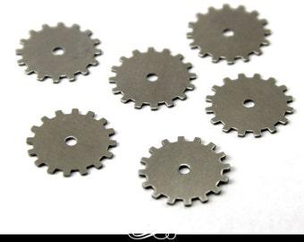 Solid Gear Shaped Nickel Silver Metal Blank for Metal Stamping. Pack of 5. MET-650.52