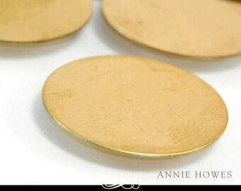 Circle Brass Blanks. 1 Inch Circle Shape. 24ga Solid Brass. 5 Pack. MET-400.15