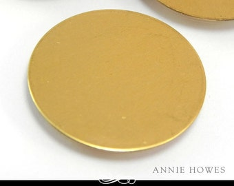 Large Circle Brass Blanks. 1.5 Inch Circle Shape. 24ga Solid Brass. 5 Pack. MET-400.05