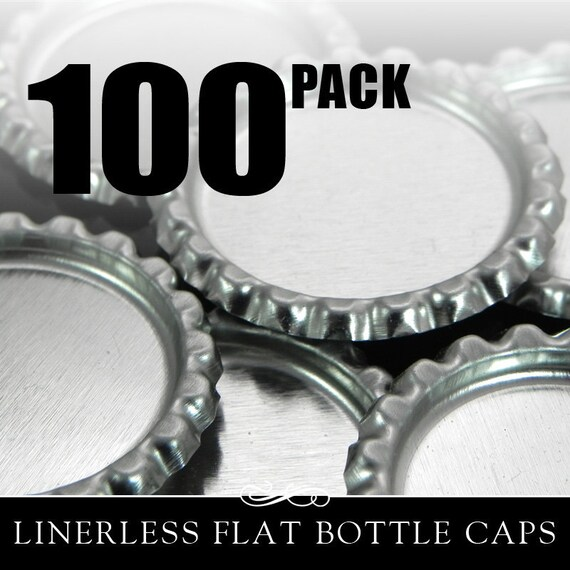 Flat Bottle Caps. 100 Flattened Chrome Bottle Caps without Liners. Annie Howes. AH-BCF-100