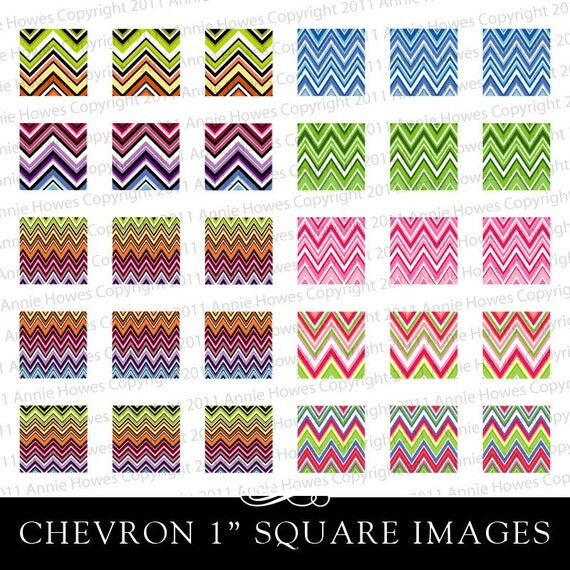 Instant Download Chevron Colorful 1 Inch Square Digital Collage Sheet.