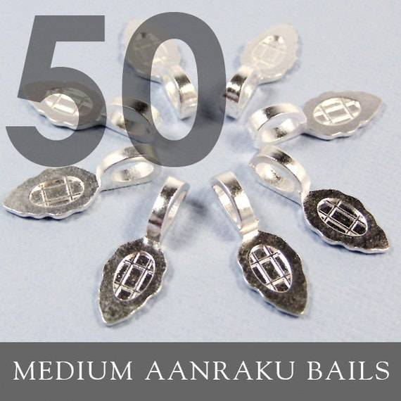 GENUINE AANRAKU Medium size - Silver Plated Bails - Perfect for Scrabble Tile, Glass and Resin Pendants 50 Pack. Annie Howes