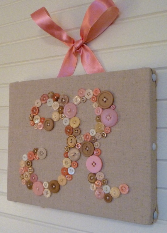 Personalized Kids Wall Art, Button Letter Art, Nursery Decor, Baby Shower Gift, Toddler Gift, Nursery Art Canvas, Custom Design Your Own