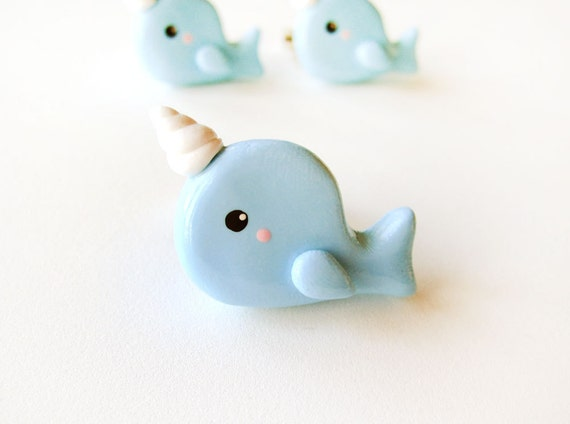 Baby Blue Narwhal Ring Polymer Clay Animal Jewelry