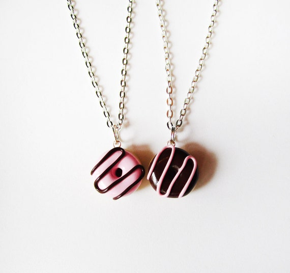 Best Friends Donut Necklace Set Pink Brown Strawberry And