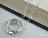 Captured Spiral Necklace - Sterling Silver Pendant and Chain - Mobius, Love Knot, Lovers Knot - Ready to Ship - 10% loaned through Kiva.org