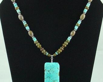 Big Bold Genuine Turquoise Pendant\/Necklace,Southwest Beaded