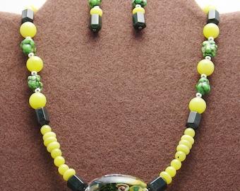 Fantastic Colorful Boro focal Bead,Genuine Turquoise Stone Necklace Set-