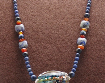 Old Glory Red White and Blue Artisan Focal Bead, Necklace Set-