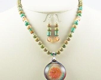 3 D Lampwork Pendant,Arizona Turquoise,CZ Necklace Set