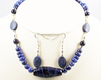 Natural Stone Navy Blues and Sterling Combined with Lamwork Focal,Necklace Set-