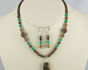 Beautiful Jade Greens, Jasper, Lampwork Organic Designed Pendant,Necklace Set-
