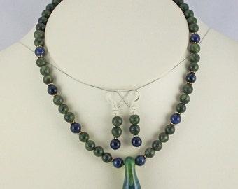 Organic Lampwork Pendant with Jade,Dumortierite Beads, Necklace Set