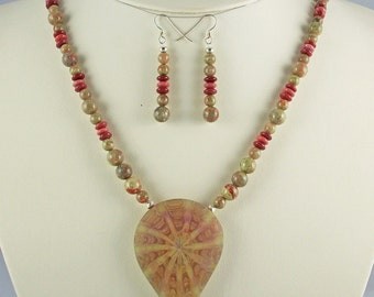 Fascinating Autumn Kaleidasope Lampwork Pendant,Beaded Necklace Set