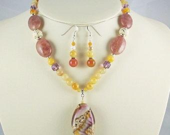 Jade,Aventurine,Turquoise Awsome Lampwork Pendant, Necklace Set