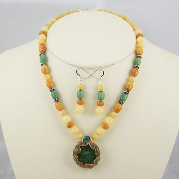 Stunning Boro Lampwork Pendant with Jades, Aventurine Beaded Necklace Set-