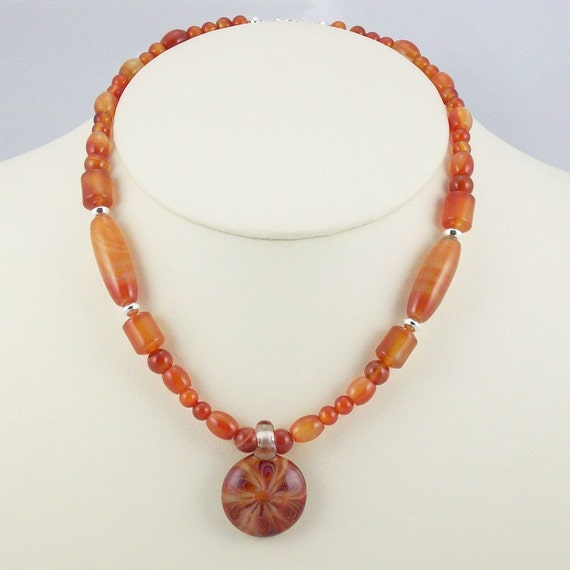 Striking Natural Red Agate with an Intriguing Lampwork Pendant Necklace-