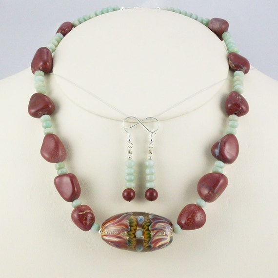 Artisan Borosilicate Lampwork Focal with Real Poppy Jasper Nugget Necklace Set