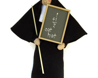 Novelty nun doll, fun Catholic gift, teacher gift, woman with blackboard and pointer, The Pointer Sister, the teacher