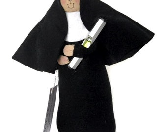 Novelty Nun doll Catholic gift, fun gift for crazy friend, off-centred character, zany personal gift,Sister Eileen, the off-centred sister