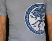 Shiva Batik Eco yoga t shirt hand painted & hand dyed  men grey