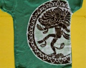 Organic cotton Baby Clothing Shiva Batik one piece short sleeved hand painted green 3 to 24 months
