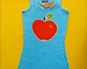 Apple Tank Top batik hand drawn hand painted hand dyed women turquoise