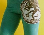 Batik Yoga pants Shiva teal green hand drawn hand painted & hand dyed - festival pants - women XS, S, M, L, XL