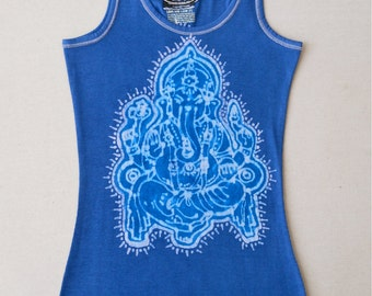 Ganesha yoga top, Eco friendly batik, ribbed tank tops and tees handmade womens clothing, hand painted & hand dyed blue - yoga clothes -