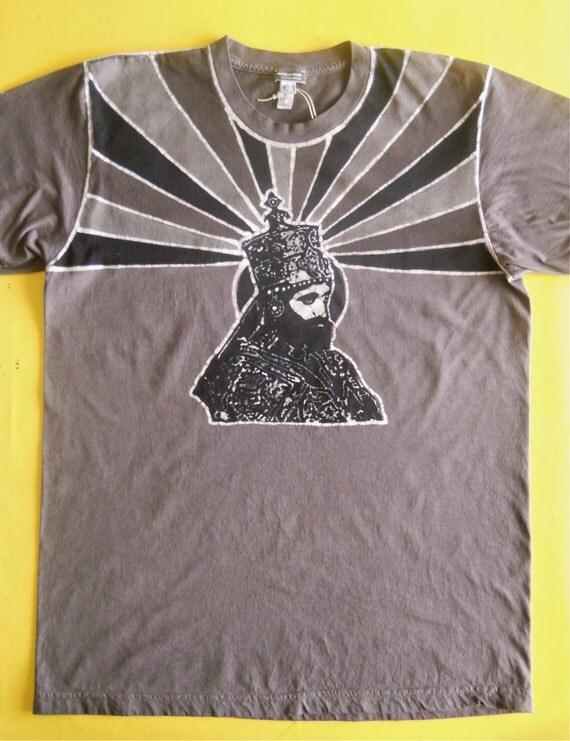 Haile Selassie Batik Organic cotton T Shirt  hand drawn hand painted and hand dyed men gray Size S, M, L, XL, XXL