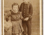 Rare Unique Antique CDV Carte de Visite 1860s Switzerland Brother and Sister Holding Hands