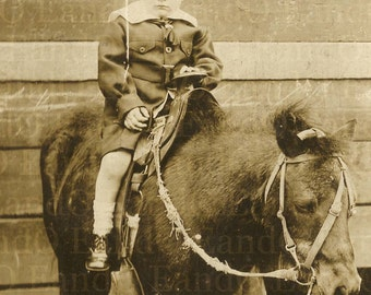 Antique Cabinet Card c 1910s Little Boy Riding a Pony