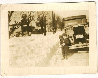Vintage Photo. Photograph. Snapshot. Little Boy in Snowsuit. Playing in the Snow. High Point North Carolina. 1940s.