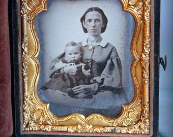 Rare Antique Hand Tinted Cased Ambroytpe Portrait of a Mother and Child 1850s 1860s 1/6 (Sixth) Plate