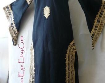 Vintage Dashiki Caftan Maxi Dress /size range 6 8 10 / Bohemian Embroidered Moroccan Kaftan / 1960s Bell Sleeve Tunic Black Gold