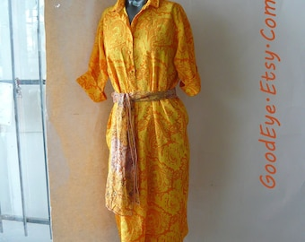Vintage 60s Short Sleeve Shift Dress / size Medium 6 8 10 / PAISLEY Neon Yellow Orange Mod Screenprint / Lady BAYARD Label