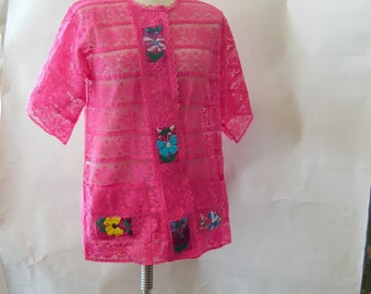 Vintage Mexican Pink Lace Jacket / Embroidered SHEER  size 6 8 10 12 medium  / MEXICO 1960s Bohemian Beach Coverup Resort Tunic Top Jacket