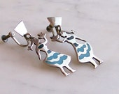 Vintage Earrings Figural Enameled Sterling Silver Screw Back 'Hecho en Mexico' Pre-1945