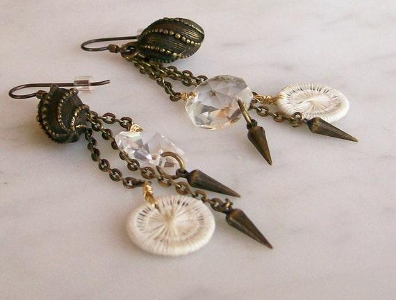 Earrings Brass Chain Dangles Vintage Crystal Jewelry