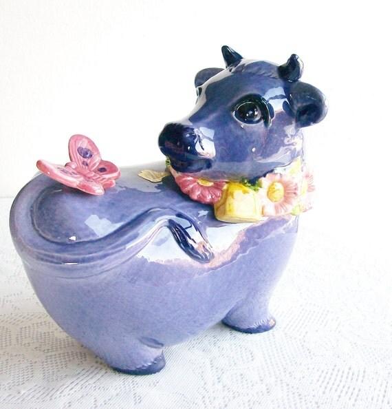 Cookie Jar Metlox PoppyTrail Pottery 'Purple Cow' California Vintage Retro Kitchen Decor Housewares