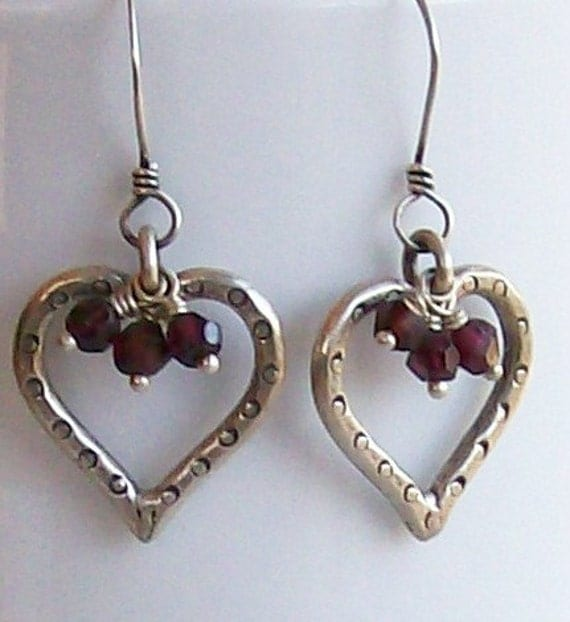 Valentine's Day Special! Heart Earrings Faceted Garnets Hill Tribe Sterling Silver Valentine Jewelry