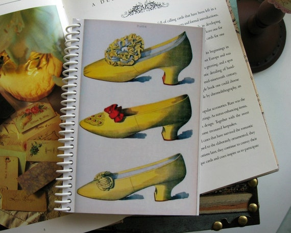 Antique Yellow Shoes, Blank Sketchbook, Spiral Bound, Writing Journal, A6 Notebook, Pocket, Back to School Notebook, Gifts Under 15, SALE