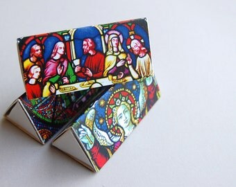 Elegant triangle matchbox gift set -- British D-Lites -- Stained glass sections. Set of three matchboxes. Cute mini gift.