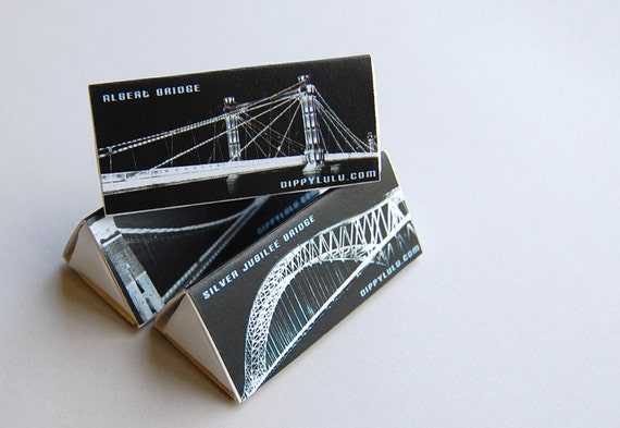 Decorative triangle matchboxes -- Set of 3 British D-Lites Bridges. Gift for no reason. Candle accessory for gifting.