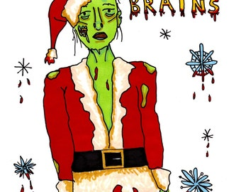 Zombie Christmas Cards- FIVE cards