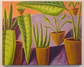 Original Oil Painting On Canvas Mid Century Modern Inspired Potted Plants