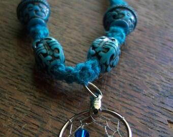 Blue Hemp Necklace with Dreamcatcher